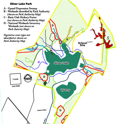 Park Authority's map of Silver Lake environmental resources showing National Wetlands Inventory data outlined in red.